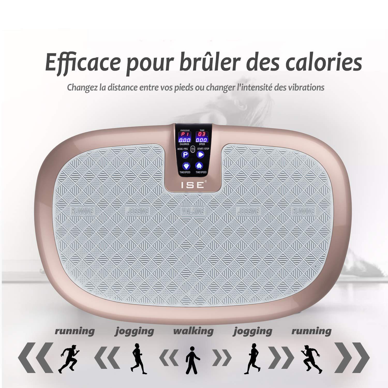 ISE Plataforma Vibratoria de Fitness, Máquina de Ejercicio con Profesional Vibración Espiral, 5 Programas de Entrenamiento, 99 Niveles de ...