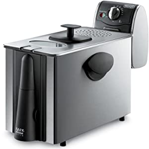 "Delonghi Stainless Steel Deep Fryer, Large 3 Lb Food Capacity, with Brushed Stainless Steel Housing, and Adjustable Temperature and Indicator Light, Features ""Cool Zone"" Eliminating Odors and Smells, has Windowed Lid and Cool Touch Handles Includes a Safe Magnetic Plug"
