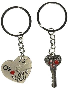 OliaDesign clave a mi corazón lindo Pareja Amor Llavero ...