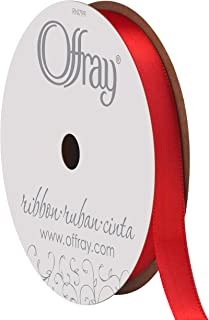"product image for Berwick Offray 062036 3/8"" Wide Single Face Satin Ribbon, Red, 6 Yds"