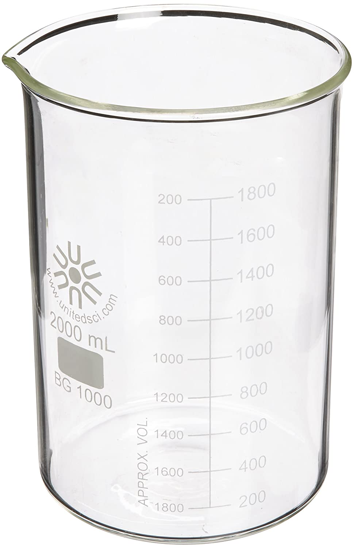 3000ml Capacity United Scientific BG1000-3000 Borosilicate Glass Low Form Beaker