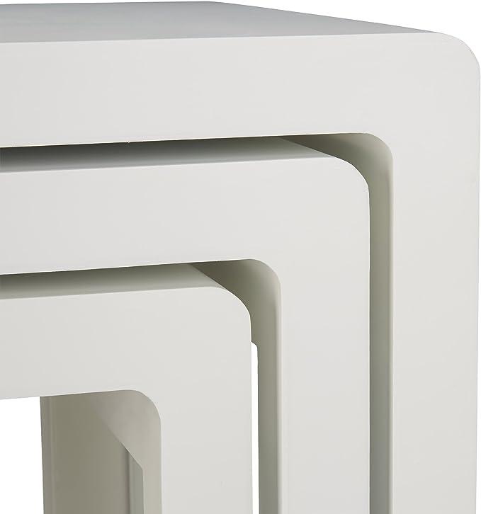 Bianco Stile Elegante Legno Laccato Relaxdays 10021915/_49 Set 3 Tavolini da Salotto Sovrapponibili