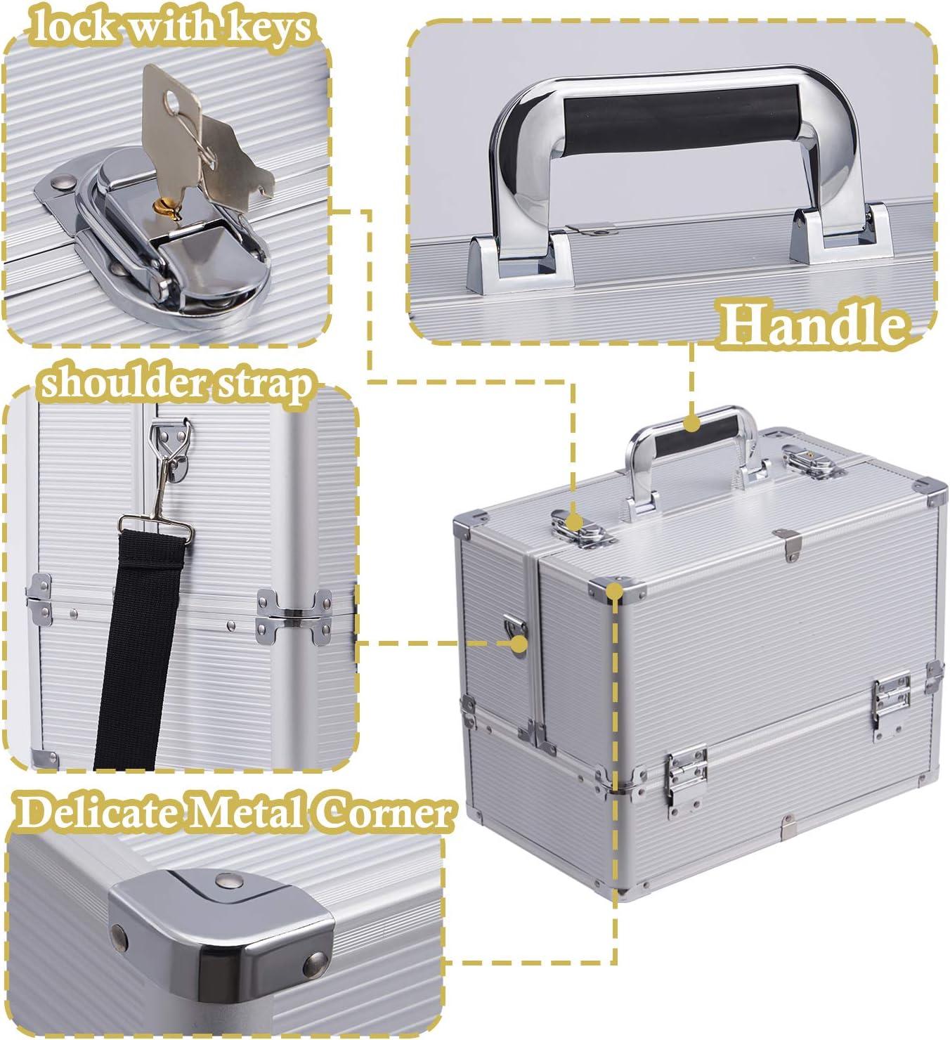 Gro/ße Kosmetikkoffer Schminkkoffer Schmuckkoffer Make-up-Kosmetik-Box Case Organizer mit Schultergurt Schwarz 37x22x26cm