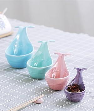 fecihor cerámica tazas de medición juego de 3 cuencos redondos, con forma de ballena Set