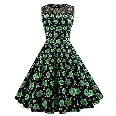 56715a48a7a iBaste Damen Ärmelloses Swing Cocktailkleider Grünes Klee-Retro Kleid St.  Patrick s Day Kleid  Amazon.de  Bekleidung