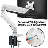 "AVLT Single 13""-43"" Monitor Arm Desk Mount fits One Flat/Curved/Ultrawide Monitor Full Motion Height Swivel Tilt Rotation Adjustable Monitor Arm - White/VESA/C-Clamp/Grommet/Cable Management"