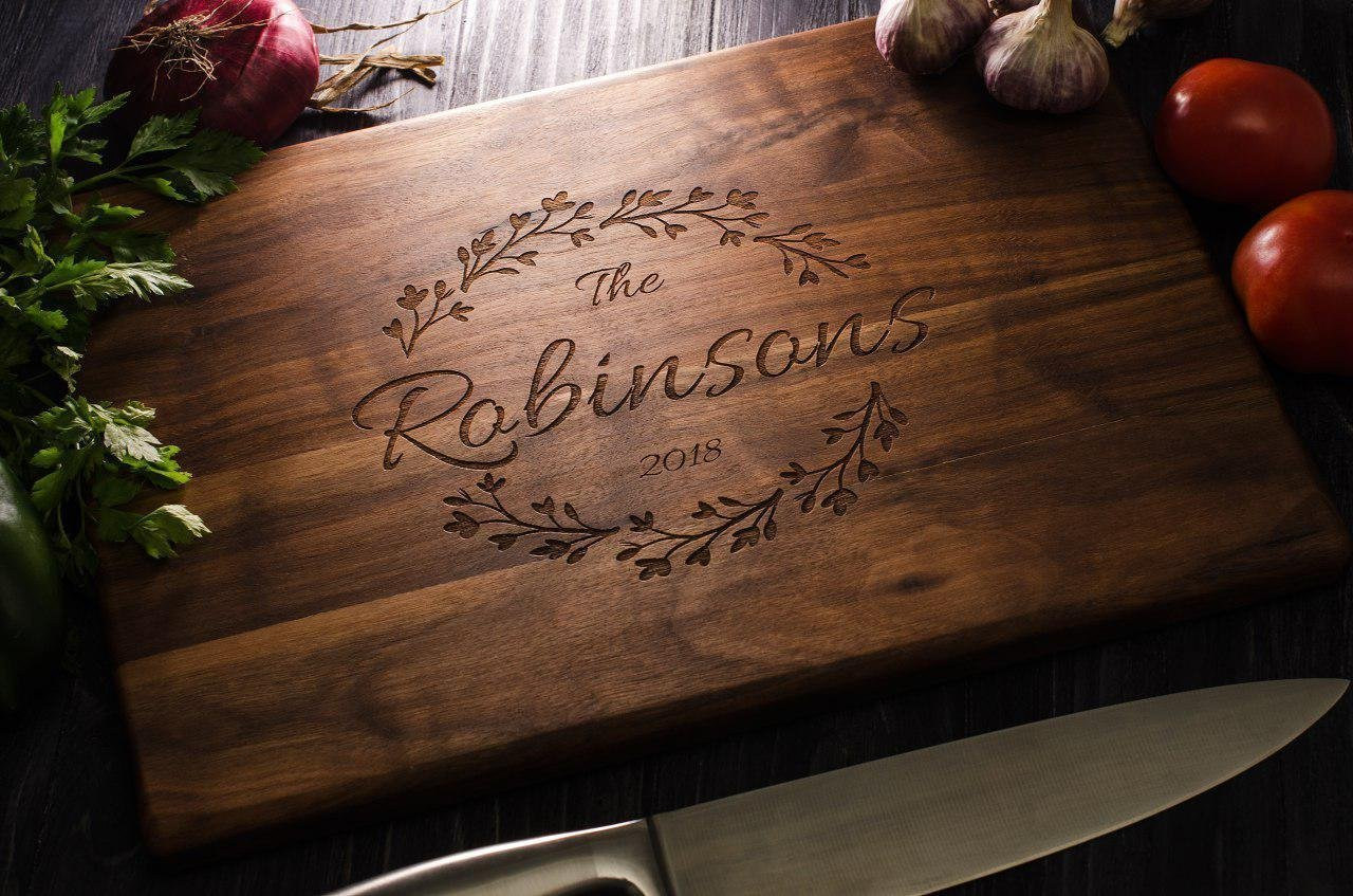 Personalized Wooden Cutting Board Custom Engraved Wedding Engagement Anniversary Housewarming Family gift