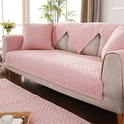 Solid Color Non-Slip Sofa Towel, Cotton Sofa Cover Protector Sofa Cover for sectional Couch Sofa Cover pet Protector Sofa Cover mats-Pink ...