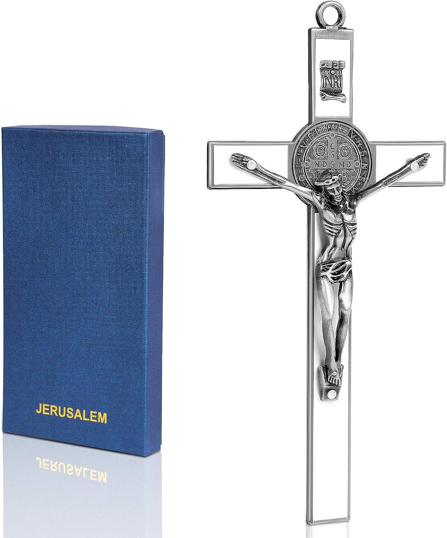 Alloy Metal Wall Cross | Saint Benedict Crucifix Wall Decor | 7.7 Inch Hanging Cross Wall decor | Cross Wall Decor for Your Livingroom, Bedroom, and Diningroom