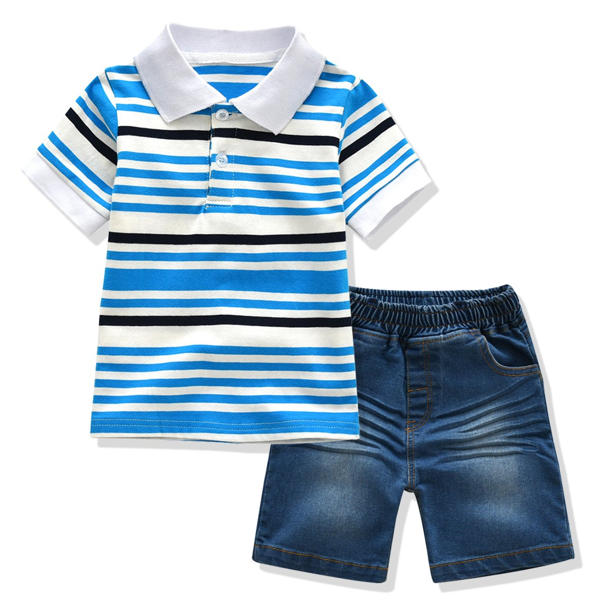 Ferenyi Toddler Boys Clothing Boys' Solid Pique Polo Shirt and Denim Shorts Sets (3 years, Blue 3)