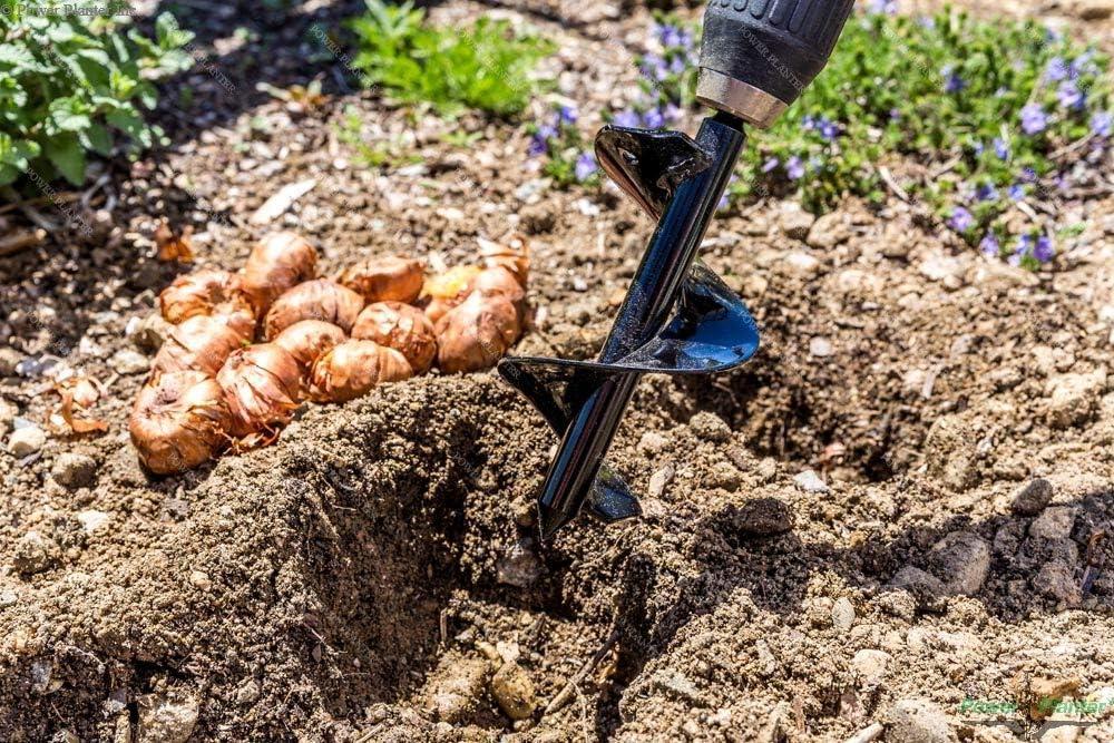 4 x 45 cm Garden Auger Flower Planter Spiral Drill hex Shaft Hole Digger Yard Gardening Planting Bedding Onion seedlings PINH-Long Drill Sets