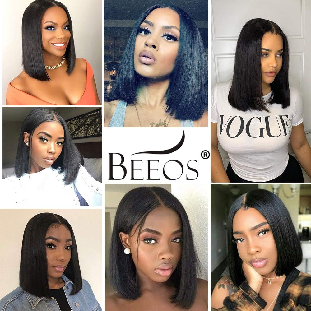 BEEOS 13x6 Short Bob Lace Front Human Hair Wigs for Black Women, 150% Density Pre Plucked and Bleached Knots Natural Black Brazilian Remy Bob Wig (10 inch) by BEEOS (Image #9)