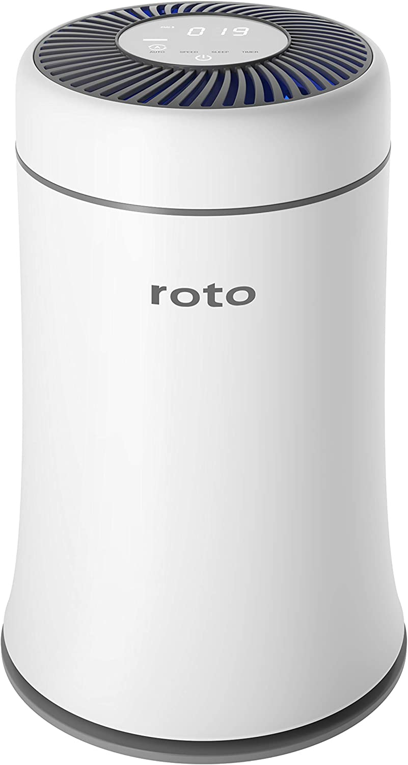 Roto Air Purifier for Home Bedroom with H13 True HEPA Filter, Air Cleaner for Pets, Smokers, Dust, Mold and Allergies, Quiet Odor Eliminators Purifiers for Room, 4 Fan Speeds with Quiet Auto Mode