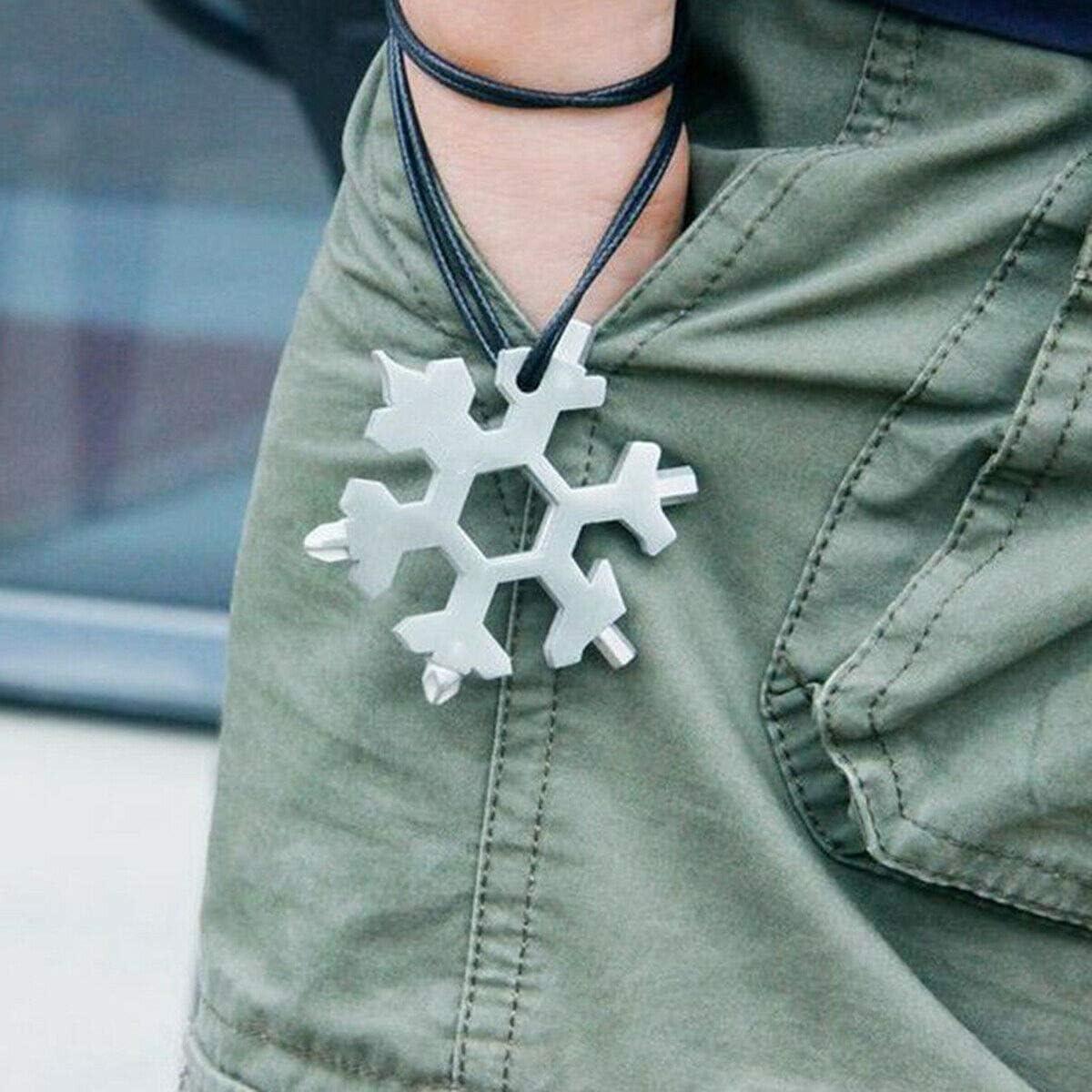 Gojiny Snowflake Multi-Tool 18 en 1 Port/átil Acero Inoxidable Forma de Copo de Nieve Flat Cross Head Destornillador