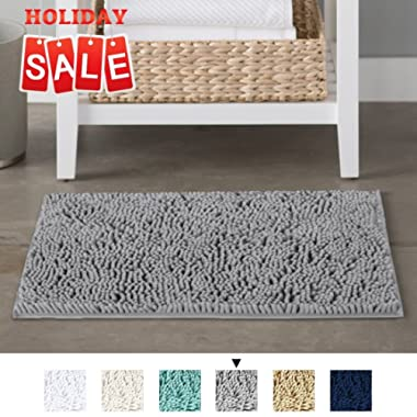 H.VERSAILTEX Grey Rugs for Bathroom Slip-Resistant Shag Chenille Bath Rugs Mat Extra Soft and Absorbent Bath Rug for Shower Room Machine-Washable Fast Dry (Gray, 17  x 24 )