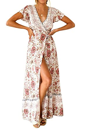 960a071164 HOYMN Women's Floral Maxi Dress, V Neck Short Sleeve Bohemian Ruffle Split  Beach Flowy Wrap