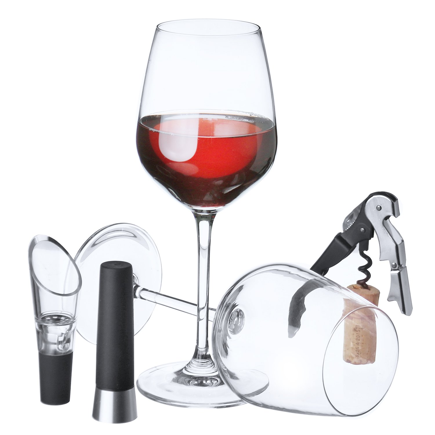 Zalik Wine Glasses Gift Set - Set Of 2 Wine Glasses, Wine Opener, Wine Stopper And Wine Aerator Pourer For Enhanced Flavor - Perfect Gift For Every Occasion - Wine Accessories - Elegant Gift Box by Zalik (Image #4)