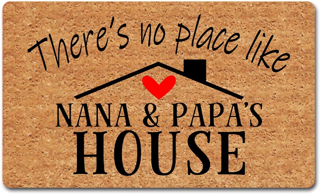 """Funny Welcome Mat with Rubber Back 18""""(W) x 30""""(L)There's No Place Like Nana&Papa's House Doormat for Entrance Way Indoor Monogram Personalized Mats for Front Door Mat Anti-Slip Kitchen Rugs and Mats"""