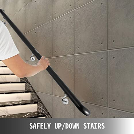 Black,6ft Length Stair Handrail 6ft Length Stair Rail Aluminum Handrails for Stairs 200lbs Load Capacity Stairway Railing Long Steel Pipes Hand Rails for Indoor Stairs Wall Mount Staircase
