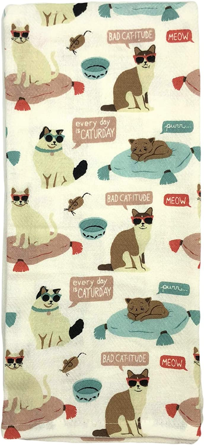 ENVOGUE Bad Cat-Itude Every Day is Caturday Kitchen Towel Set
