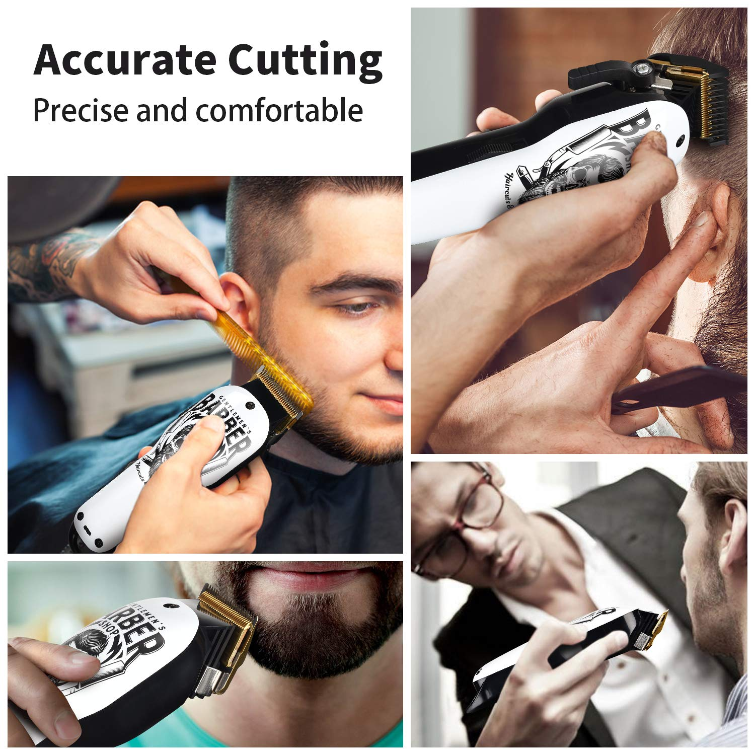 Cordless Hair Trimmer Pro Hair Clippers Beard Trimmer for Men Haircut Kit Cordless USB Rechargeable Barber Electric Shavers Hair Removal with 2000mAh Lithium Ion,Guide Combs (Trimmer)
