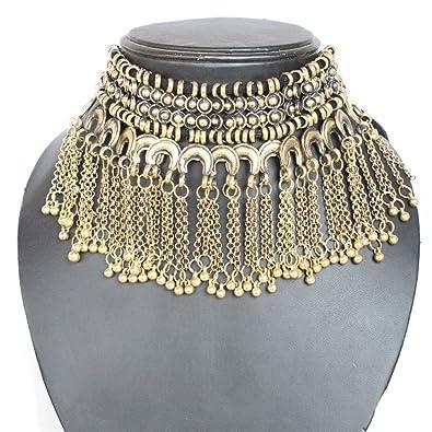 Kaizer Jewelry Boho Oxidized Silver/Gold Turkish Tribal Tassels Choker  Necklace for Women Girls