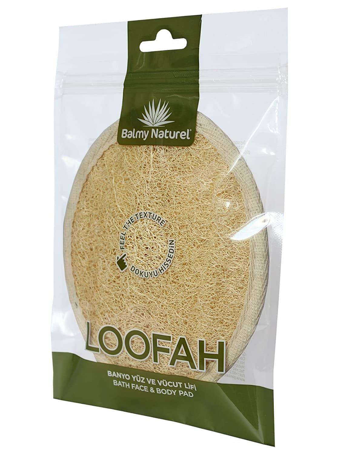 BALMY NATUREL - LOOFAH BATH FACE AND BODY PAD - Exfoliating Loofah Pad 100% Natural Luffa and Terry Cloth Materials Loofa Sponge Scrubber Brush Close Skin For Men and Women When Bath Spa and Shower