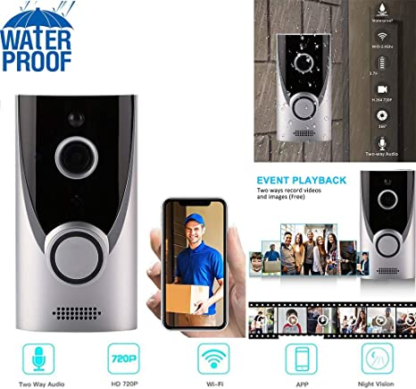 Wireless WiFi Intercom Smart Home HD Video DoorBell Camera Phone Two-Way Audio