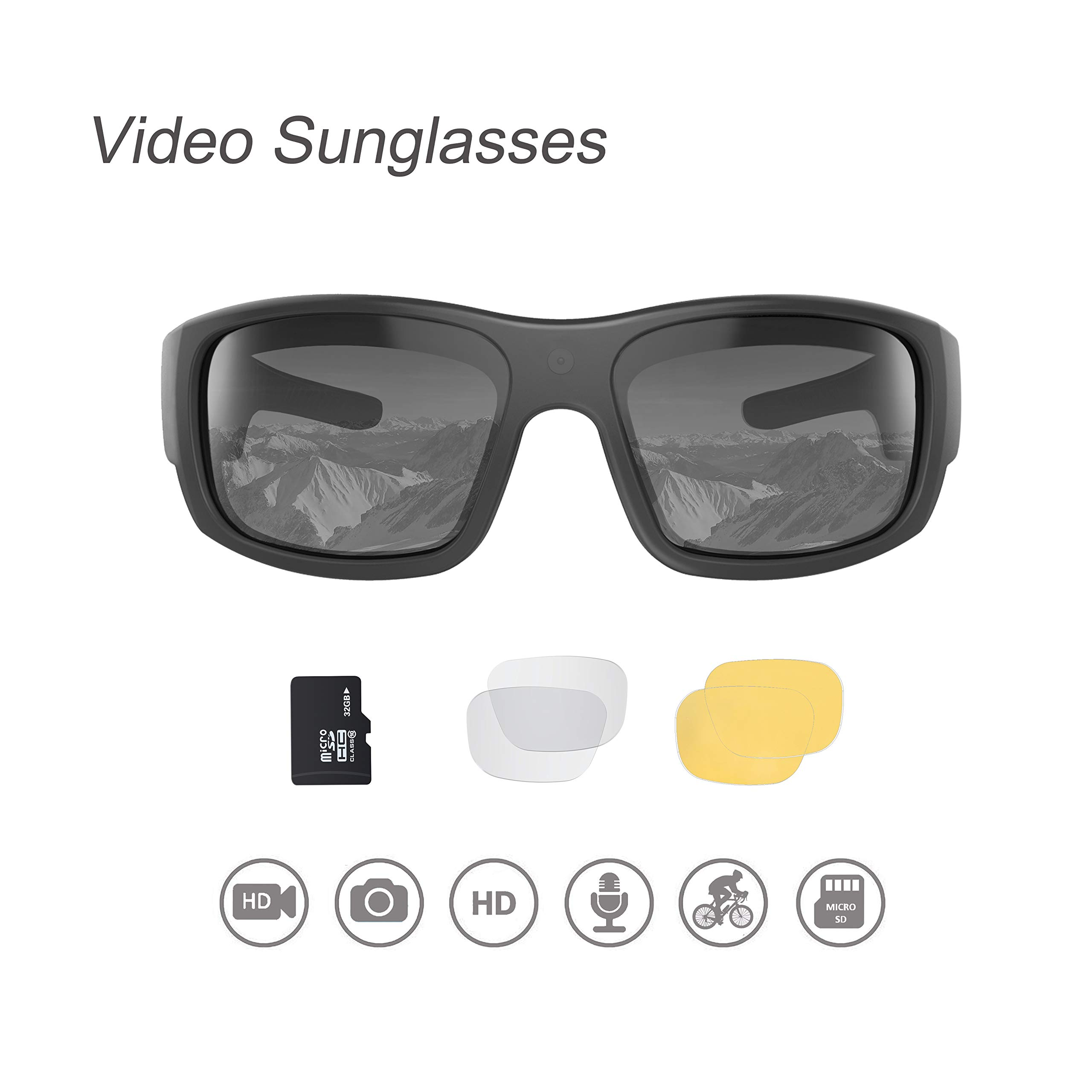 OhO Video Sunglasses,32GB 1080 HD Video Recording Camera for 1.5 Hours Video Recording Time with Built in 15MP Camera and Polarized UV400 Protection Safety and Interchangeable Lens by OhO sunshine