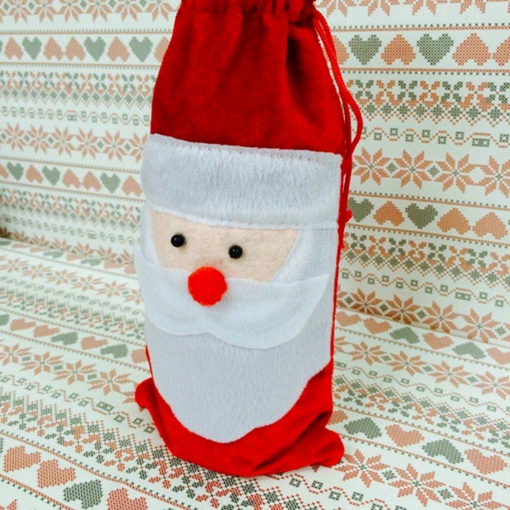 + ING rojo vino cubierta de la botella bolsas de Navidad Cena mesa decoración casa fiesta dientes de Papá Noel: Amazon.es: Hogar