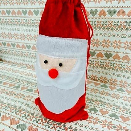 + ING rojo vino cubierta de la botella bolsas de Navidad Cena mesa decoración casa fiesta