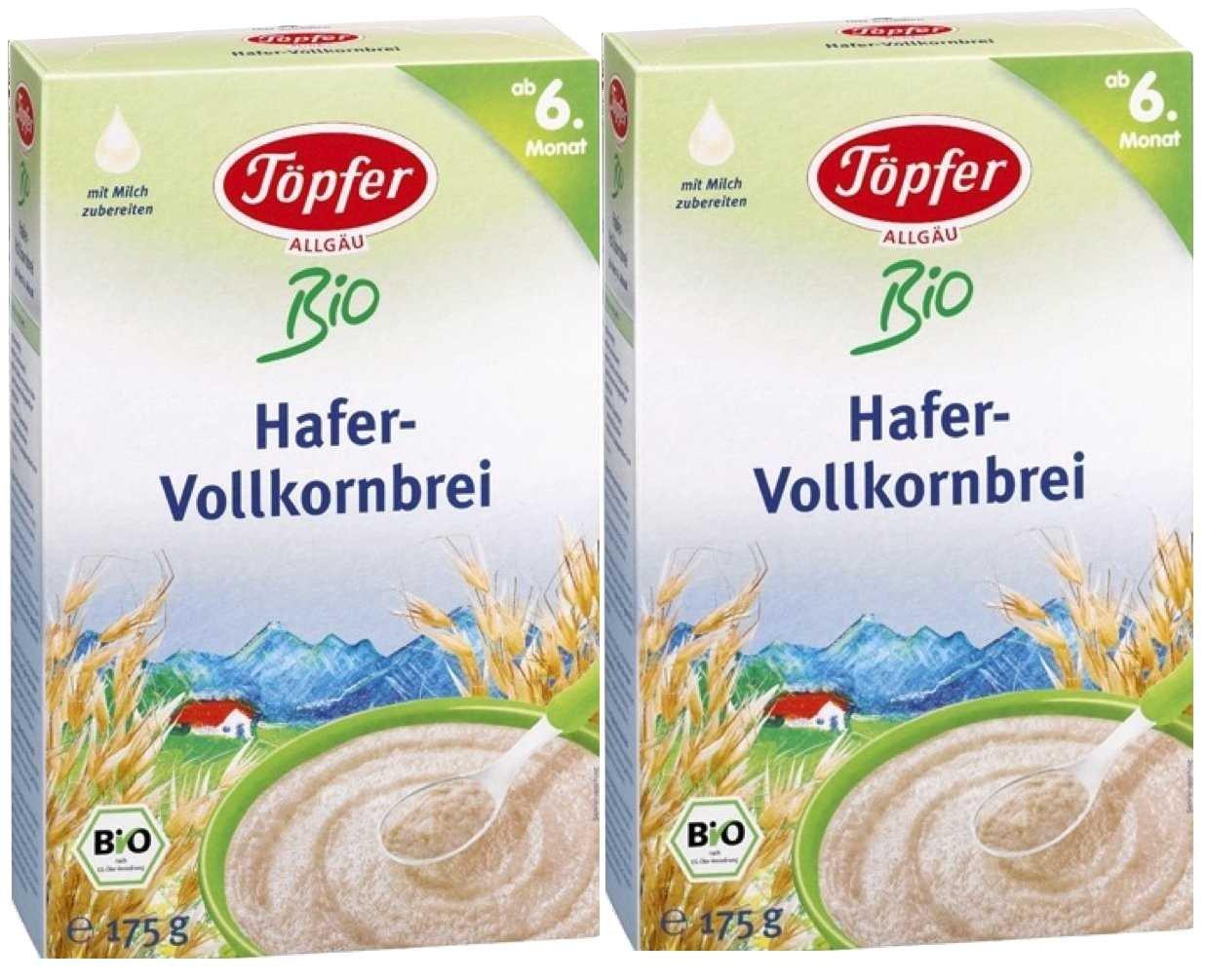 Tö pfer Bio-Hafer-Vollkornbrei, 2er Pack (2 x 175g) Töpfer GmbH