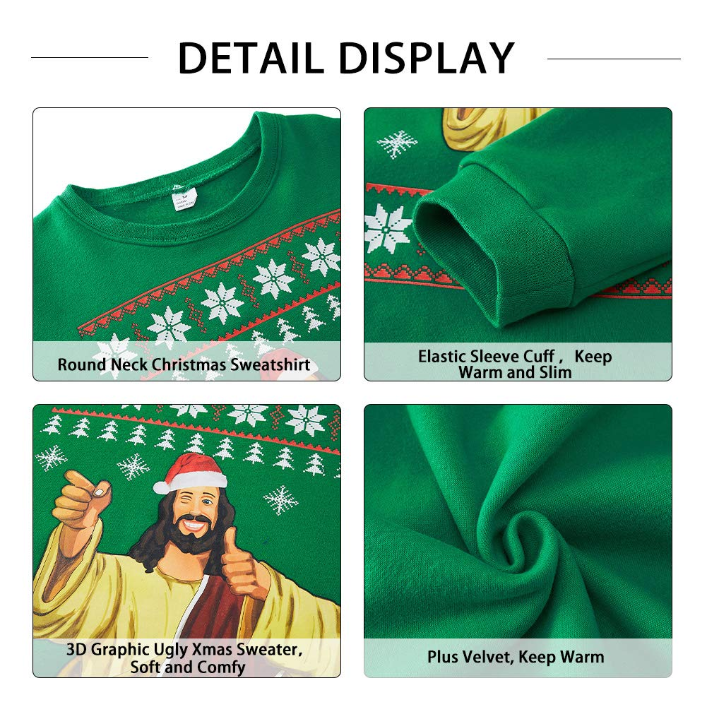 SKYRAINBOW Women Men Ugly Yas Santa Sweater Funny 3D Christmas Sweatshirt Printed Crew Neck Jumper Long Sleeve Thick Pullover for Party Outdoor L,Green