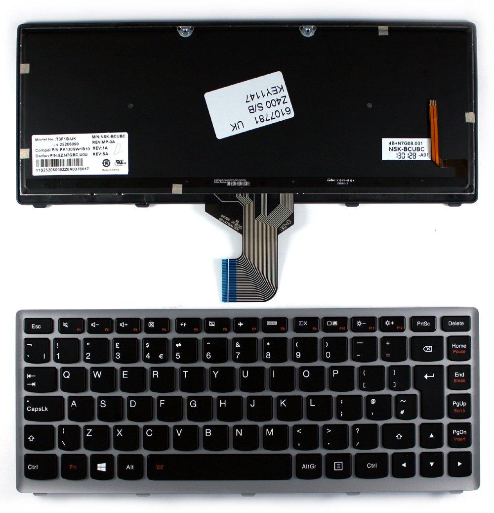 IBM NSK-BCUBC Silver Frame Backlit Black Windows 8 UK Layout Replacement Laptop Keyboard