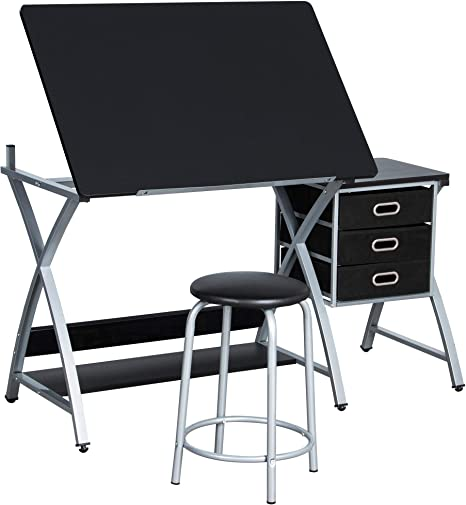 Yaheetech Adjustable Drafting Table Drawing Draft Art Desk For Adults Craft Supplies W Stool And Storage Drawers Art Studio Design Craft Station Home Kitchen