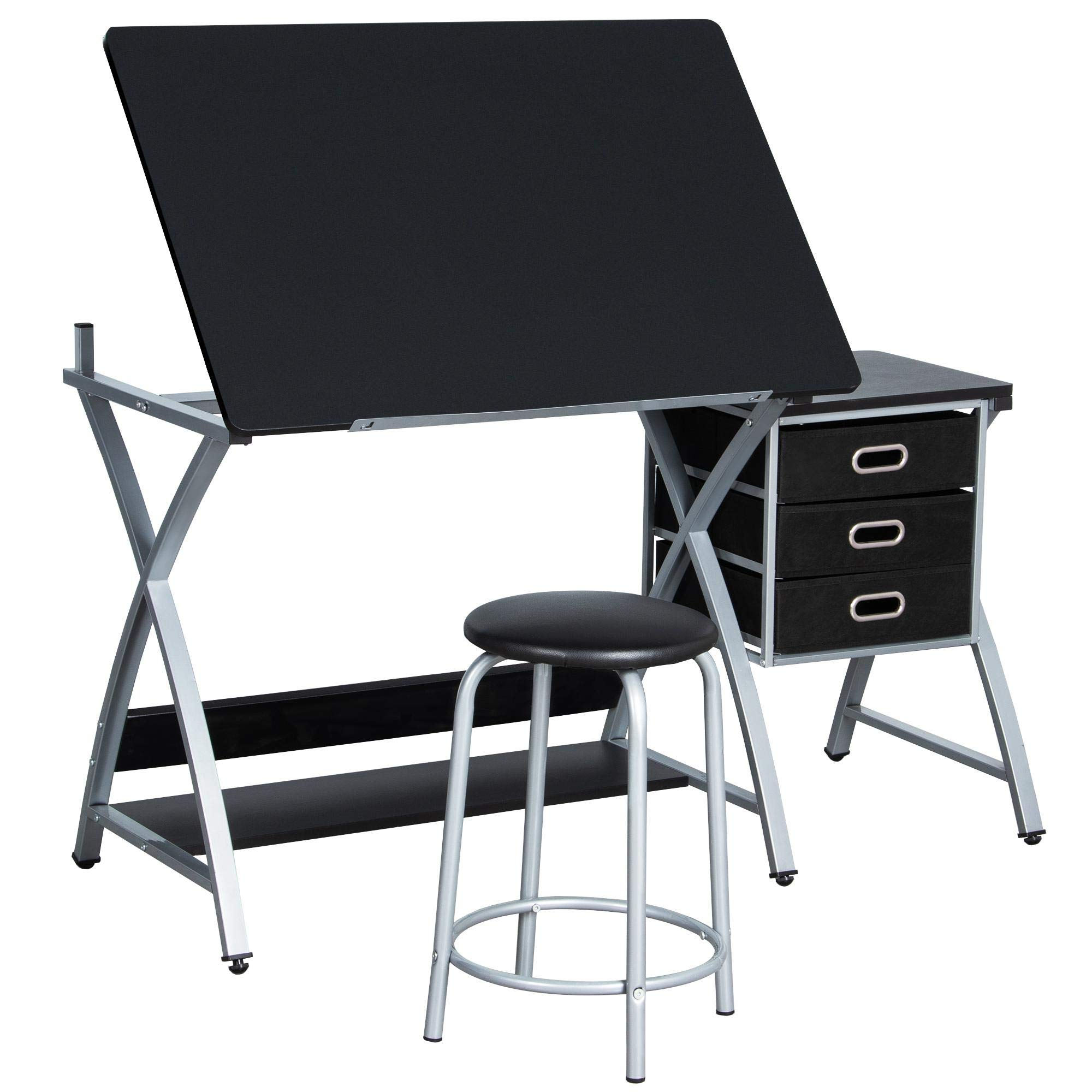 YAHEETECH Adjustable Drafting Table Drawing/Draft Art Desk for Adults Craft Supplies w/Stool and Storage Drawers Art Studio Design Craft Station