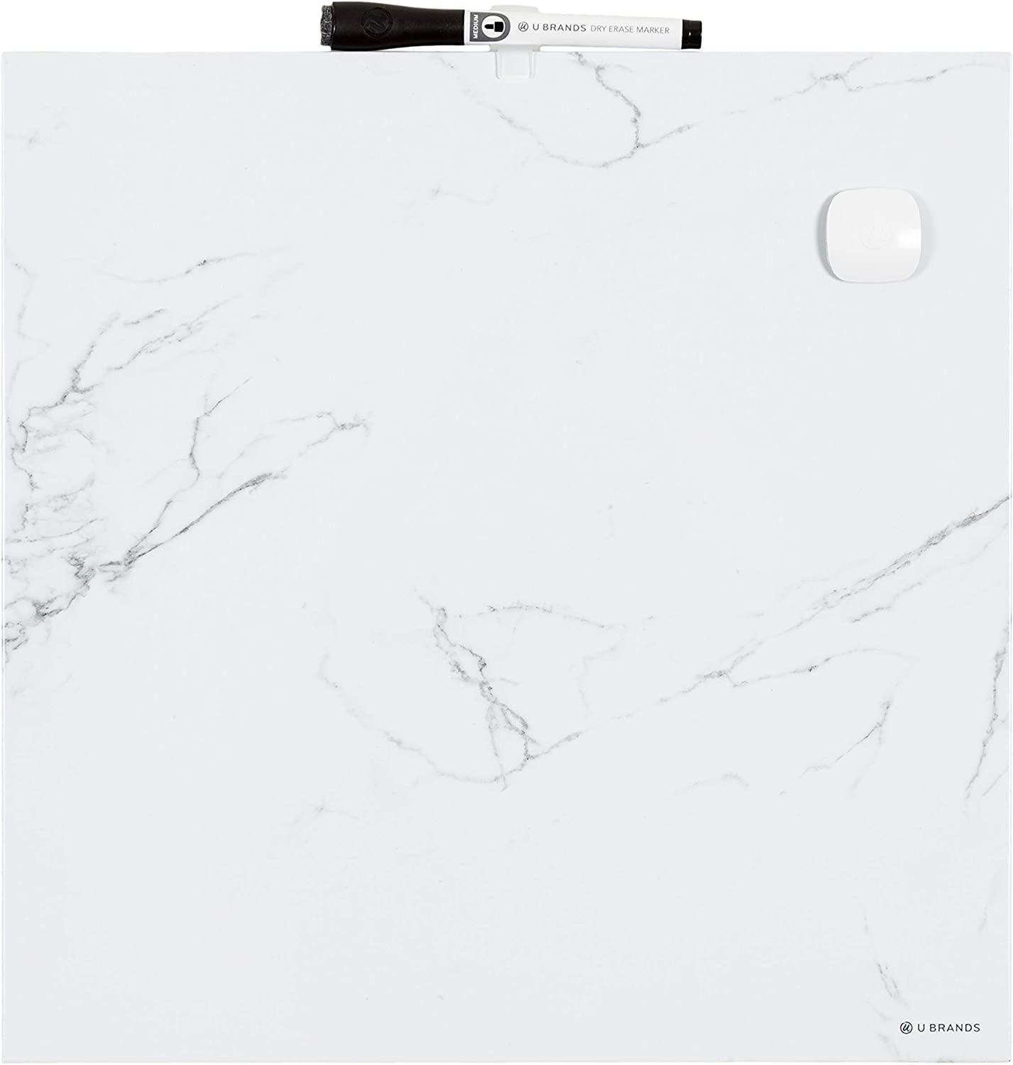 U Brands Square Magnetic Dry Erase Board, 14 x 14 Inches, Frameless, Marble Print, Magnet and Marker Included (257U00-04)