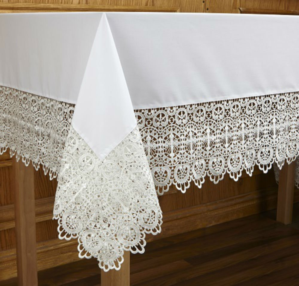 Budded Cross Lace Altar Frontal by AT001