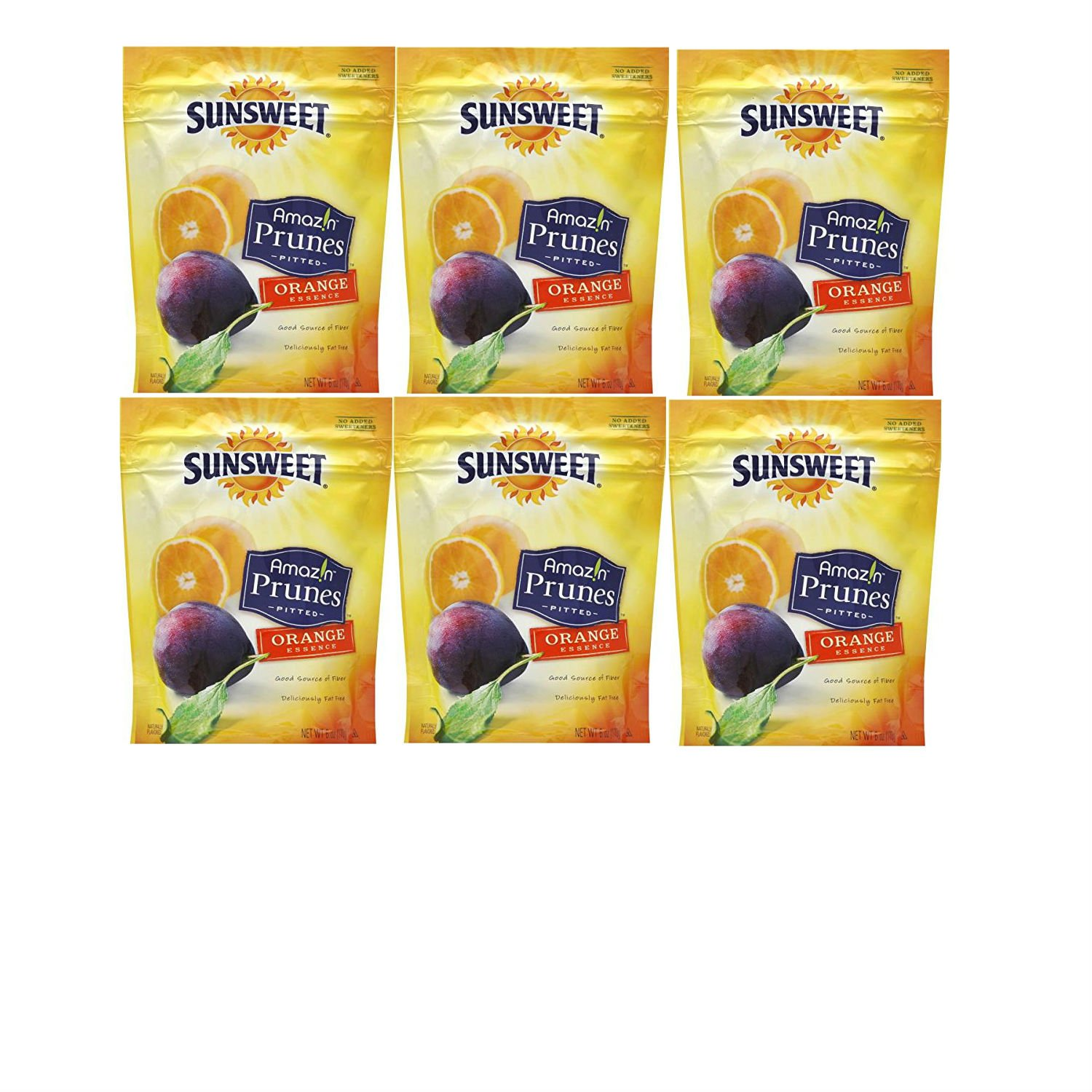 Sunsweet Amaz!n Prunes, Pitted, Orange Essence (Pack of 6). Convenient One Stop Shopping for These Amazing Orange Flavored Prunes.