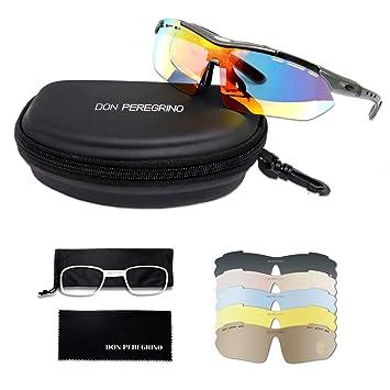DONPEREGRINO HD Gafas Ciclismo Hombre Mujer Polarizadas con 6 Lentes Intercambiables, TR 90 Gafas de Sol Deportivas UV 400 Protección