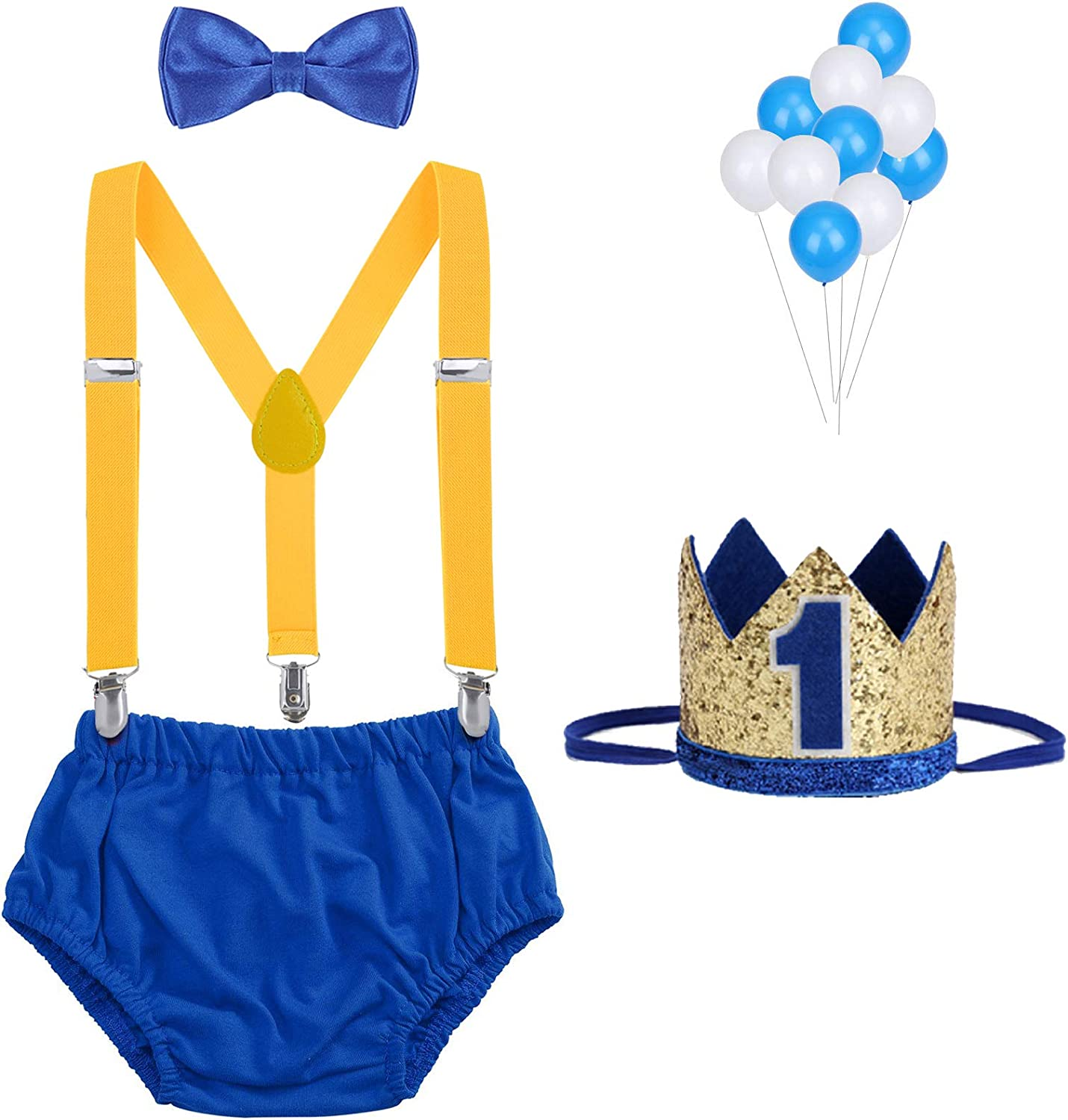 WELROG Baby Boys First Birthday Cake Smash Outfit Bloomers Bow Tie Suspenders Birthday Hat Set Fishing Party Diaper Cover
