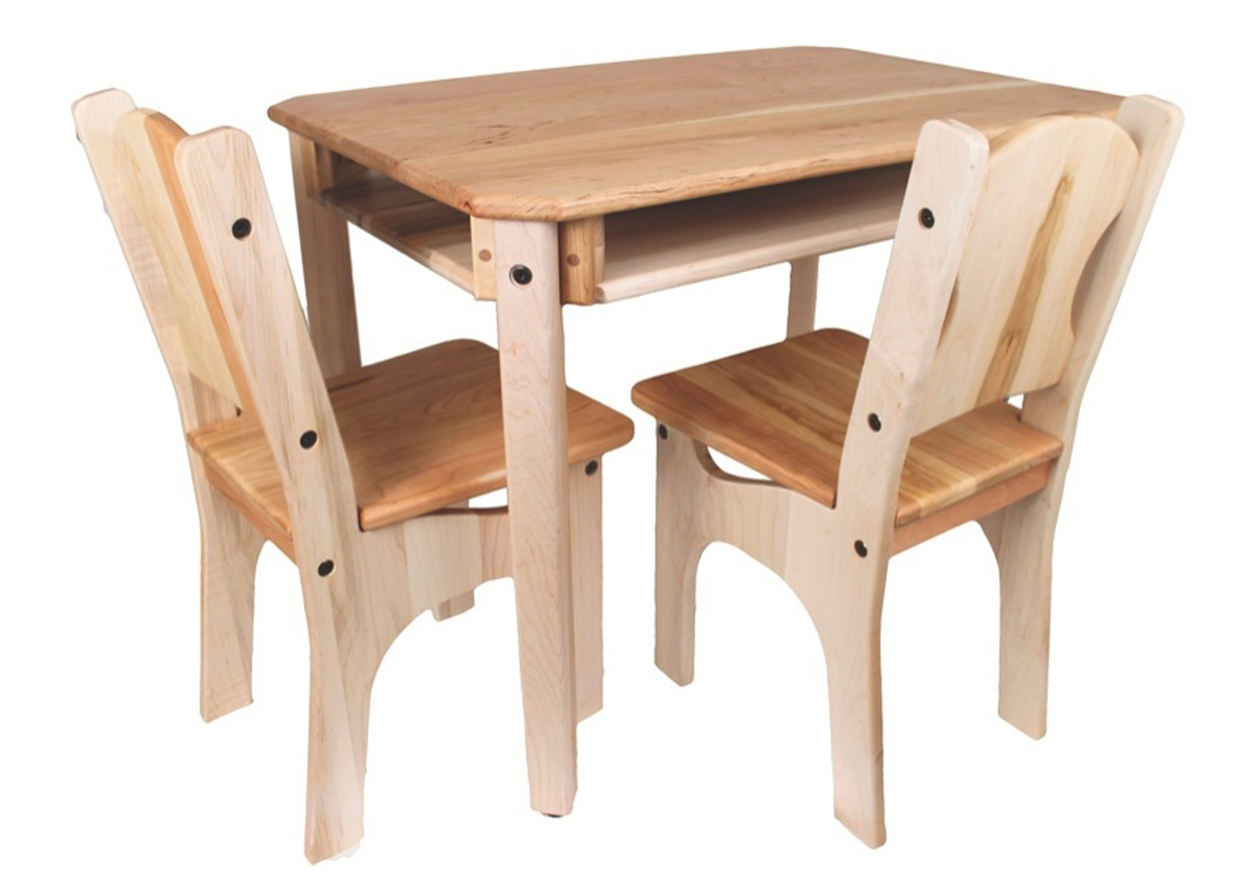 Camden Rose Child's Cherry & Maple Wood Table and 2 Chairs, USA Made