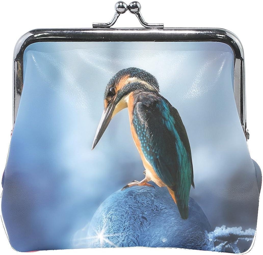 Women Animal Brid Kingfisher Blue Little Print Wallet Exquisite Clasp Coin Purse Girls Clutch Handbag