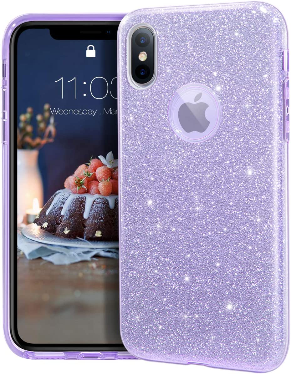 """MATEPROX iPhone Xs case,iPhone X Glitter Bling Sparkle Cute Girls Women Protective Case for iPhone Xs/X 5.8"""" -Purple"""