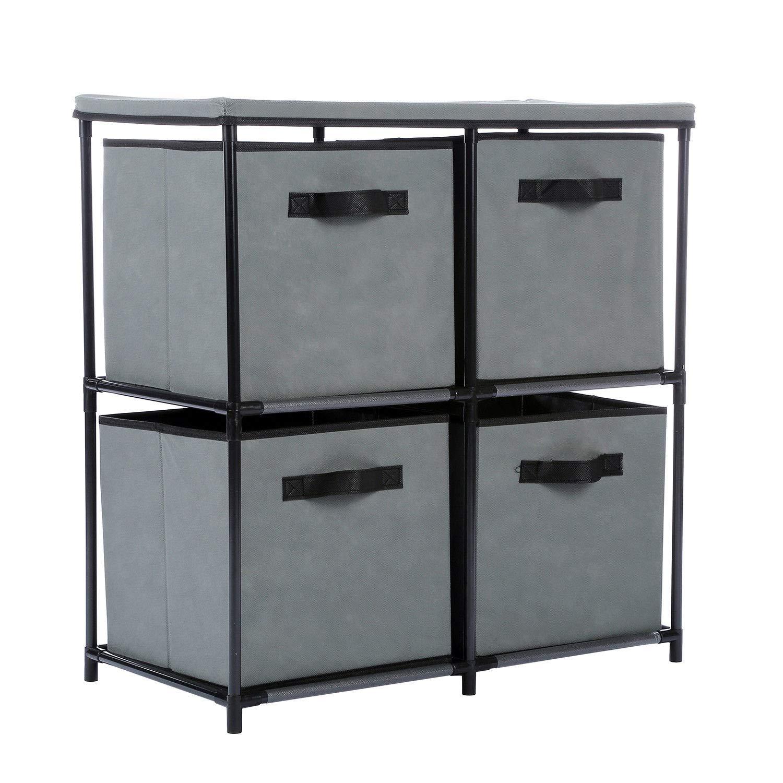 Alitop 4-Drawer Storage Chest Shelf Unit Storage Cabinet Multi-Bin Organizer in Grey