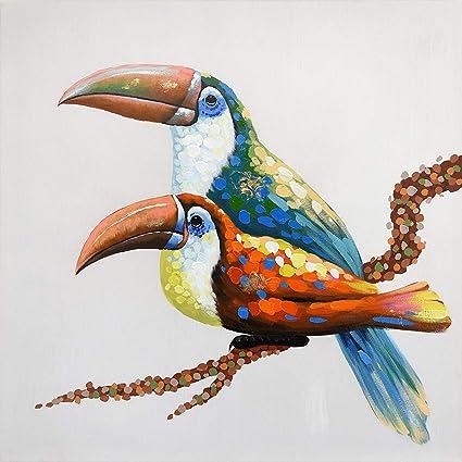 amazon com 7canvas 100 hand painted oil painting animal birds