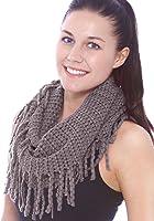 Simplicity® Warm Infinity Scarf in Knit Pattern w/ Tassels Crochet Circle Scarf