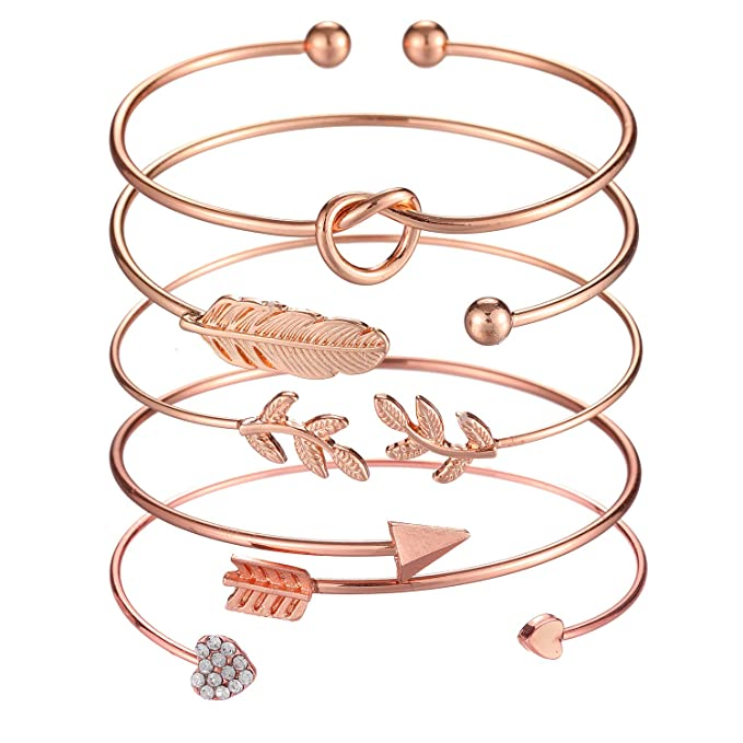 5pcs Bangle Rose Gold Bracelets for Women & Girls