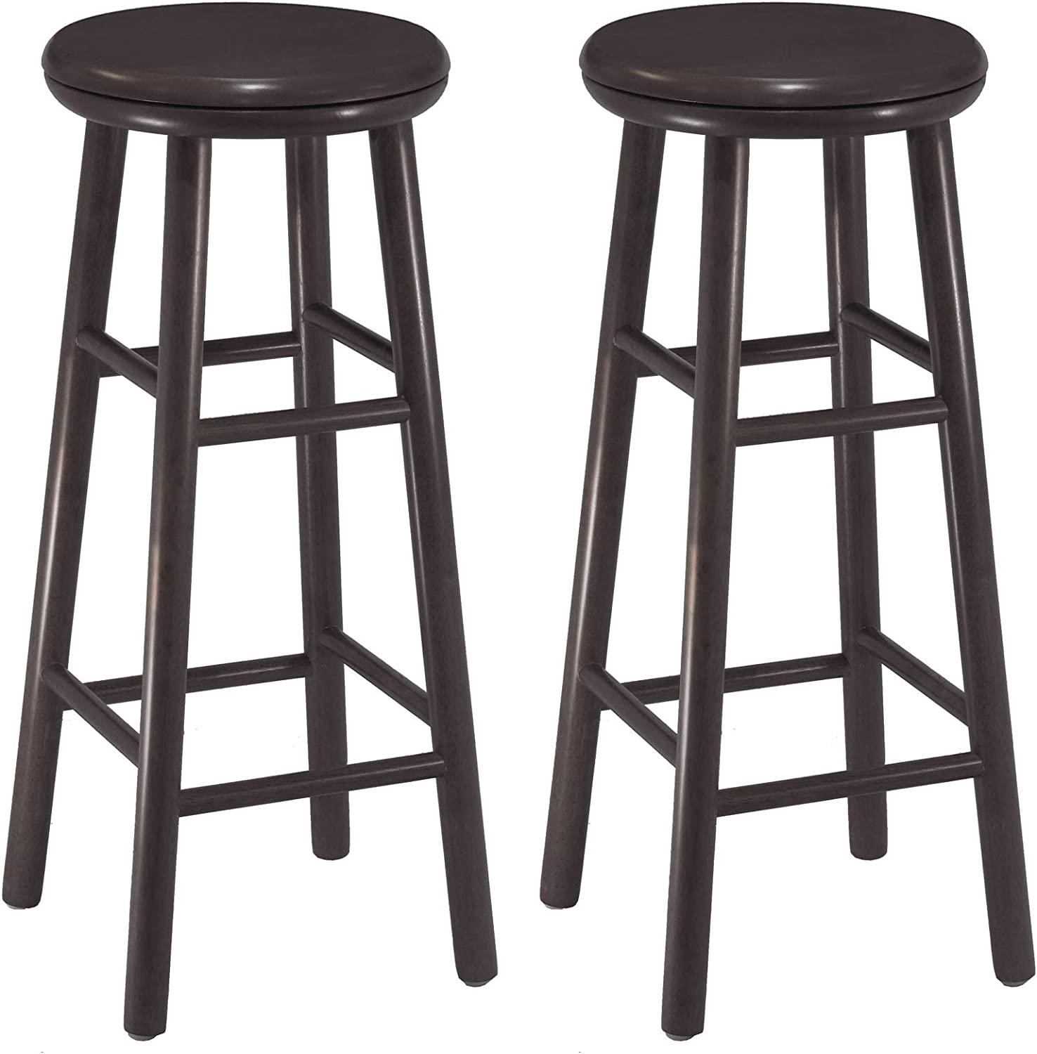 Amazon Com Winsome Wood Oakley Swivel Seat Bar Stools 2 Pc Espresso Finish 30 94 Furniture Decor