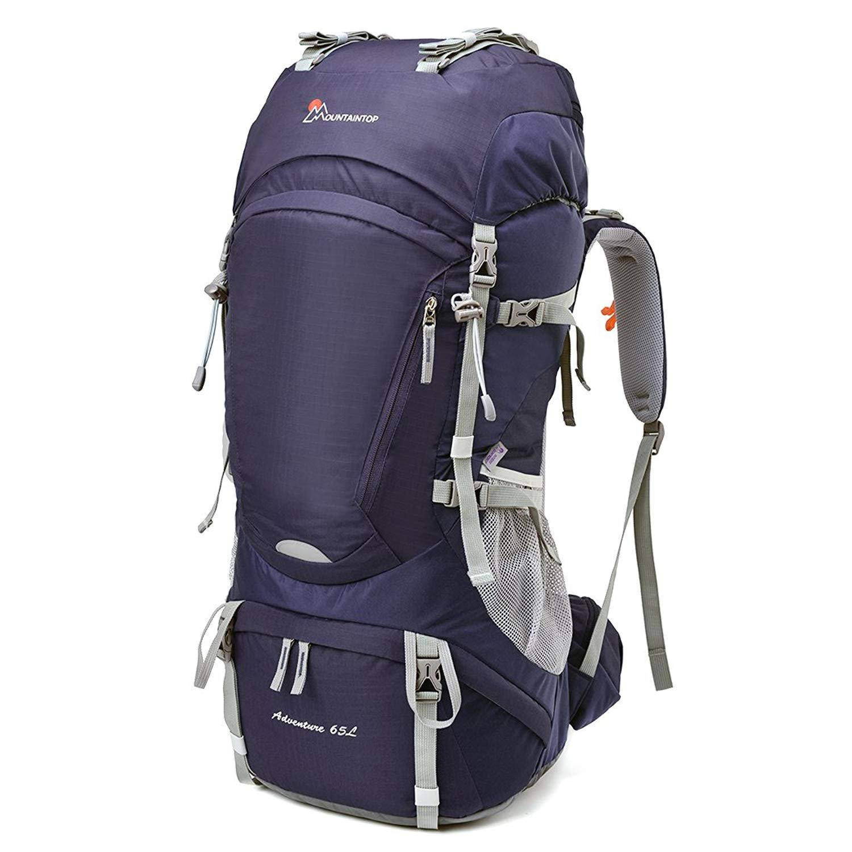 Mountaintop 55L/65L 登山バッグ 大容量 ザック 登山 リュック 防水 ハイキング バックパック キャンプ 防災 旅行用 リュックサック アウトドア バッグ 軽量 レインカバー付き B07DXGXB7M パープル65L パープル65L